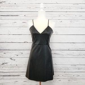 Zara black faux leather spaghetti strap mini dress